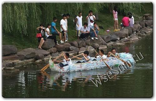 Самодельная лодка из пластиковых бутылок
